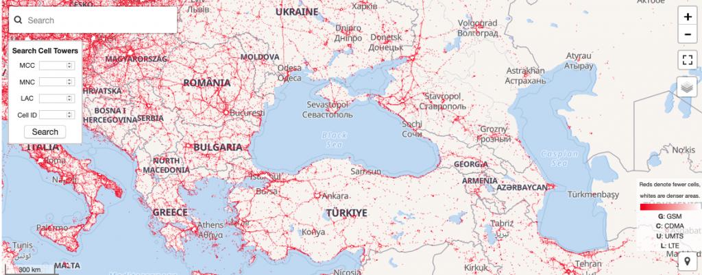 Բազմաթիվ շտեմարաններից մեկի ինտերֆեյսը որով կարելի ըստ տվյալների գտնել աշտարակաների տեղակայման վայրը